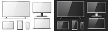 TV Screen, Lcd Monitor, Notebook, Tablet Computer, Mobile Phone Templates. Electronic Devices