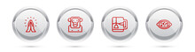Set Line Hands In Praying Position, Monkey, Cup Of Tea With Tea Bag And Kheer Bowl. Silver Circle Button. Vector