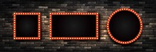 Vector Set Of Realistic Isolated Retro Marquee Billboard With Electric Light Lamps For Invitation On The Wall Background. Concept Of Vintage Decoration.