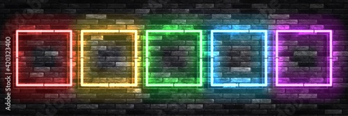 Obraz Vector realistic isolated neon sign of frame with square colorful shape for invitation template and copy space layout on the wall background. - fototapety do salonu