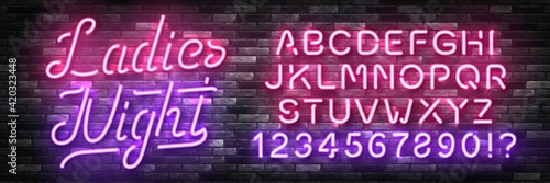 Obraz na plátně Vector realistic isolated neon sign of Ladies Night with easy to change color font alphabet for template decoration and invitation covering on the wall background