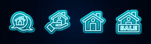 Set Line Real Estate Message House, Realtor, House And Hanging Sign With Sale. Glowing Neon Icon. Vector