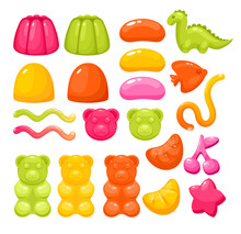 Jelly Gummy Candy Sweets Set, Colorful Glossy Sweet Dessert Food For Party Collection