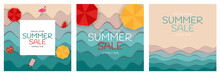 Summer Sale Paper Cut Template Background Collection Poster Set. Special Offer Vector Illustration