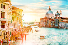 Beautiful Sunset Over Grand Canal And Basilica Santa Maria Della Salute In Venice, Italy.