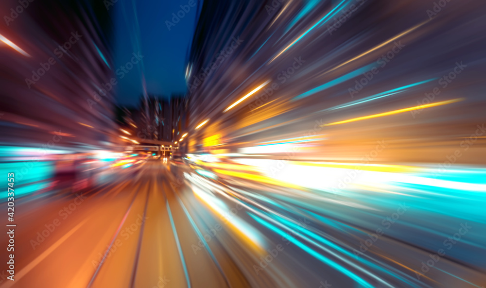 Fototapeta Abstract image of night traffic light trails in the city