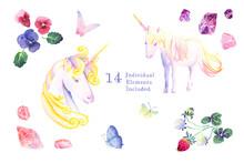<水彩画>ユニコーン、蝶、イチゴ、パンジー、アメジスト、ローズクォーツなどの14のイラスト素材セット