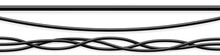 Set Of Black Flexible Cables With Shadow. Electrical Wire. Realistic Power Or Network Cable. Vector Illustration.
