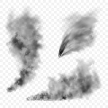 Realistic Black Smoke Clouds. Stream Of Smoke From Burning Objects. Transparent Fog Effect. Vector Design Element.