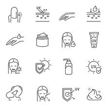 Set Outline Monochrome Sunscreen Icon Sun Block Logo Spf Safety Skin Care Anti Ultra Violet Rays