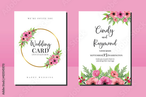Vászonkép Wedding invitation frame set, floral watercolor hand drawn Anemone Flower design