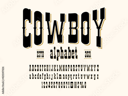 Vintage wild west western alphabet design with uppercase, lowercase, numbers and symbols - fototapety na wymiar