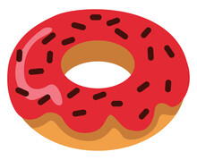 Donut With Strawberry Glaze, Illustration, Vector On A White Background