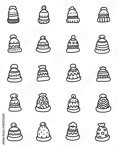 Obraz Cute warm winter hats, illustration, vector on a white background - fototapety do salonu