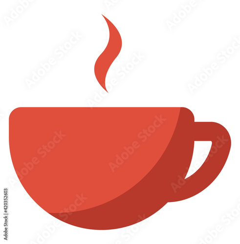 Fototapeta Red cup of coffee, illustration, vector on a white backgroundv obraz