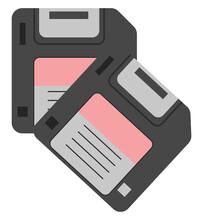 Floppy Disks, Illustration, Vector On White Background.