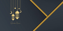 Ramadan Kareem Elegant Banner With Mosque And Lantern