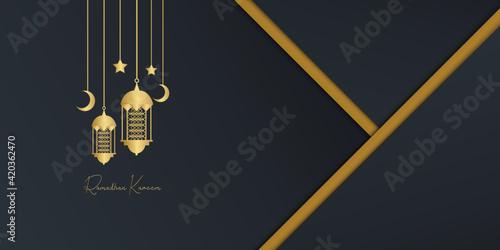 Fotografie, Obraz ramadan kareem elegant banner with mosque and lantern