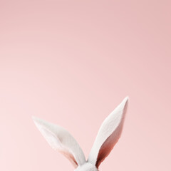 White rabbit ear on pastel pink background. Easter day. 3d rendering