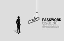Silhouette Of Businessman Standing With Fishing Hook With Password. Concept Of Click Bait And Digital Phishing.