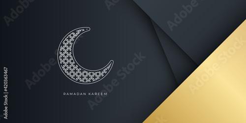 Fotografija gold black ramadan kareem islamic greeting card background vector illustration