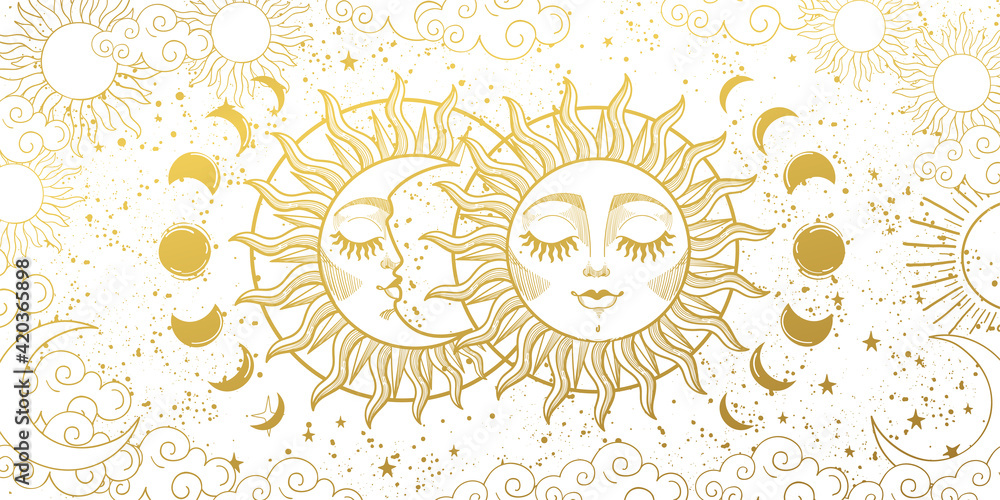 Fototapeta Magic background for tarot, astrology, magic. The device of the universe, the golden crescent and the sun with a face on a white background. Aesthetic vector illustration.