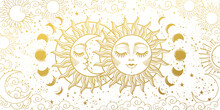 Magic Background For Tarot, Astrology, Magic. The Device Of The Universe, The Golden Crescent And The Sun With A Face On A White Background. Aesthetic Vector Illustration.