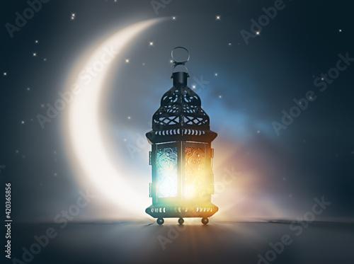 Arabic lantern with burning candle Fototapeta