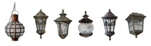 Home Outdoor Lamps Set. Isolated Over White Background.