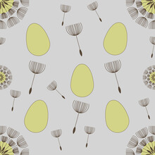 Yellow Easter Eggs, Dandelion Puff Balls And Flying Seeds Seamless Pattern