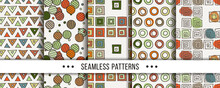 Cute Collection Of Doodle Hipster Seamless Patterns. Ornament Set For Your Design, Wallpaper, Background, Fabric Textile