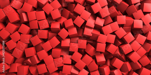 Fototapeta Red chaotic cubes structure. Abstract design background obraz