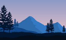 A Fresh Morning Atmosphere In The Countryside With Views Of The Silhouettes Of Mountains And Cypresses. Vector Illustration