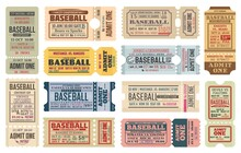 Vintage Tickets On Baseball Game Vector Templates