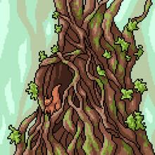 Pixel Art Of Squirrel Tree House