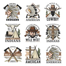 Wild West Isolated Vector Icons Set, Vintage Signs