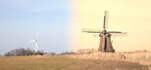 Old Windmill And Modern Turbine In The Netherlands - Old Meets New
