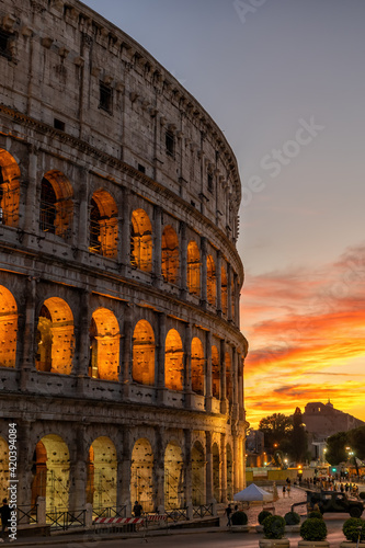 Tela Colosseum at Sunset in Rome, Italy