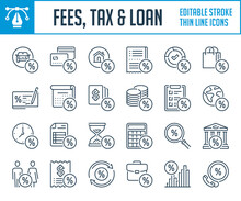 Tax, Fees And Loans Thin Line Icons. Commission And Discount Outline Icon Set. Editable Stroke Icons.