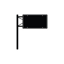 Road Signs Blank Icons. Vector Black Street Signs Templates For Directions