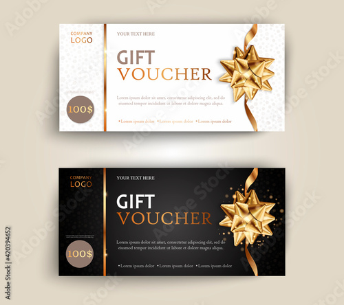 Fototapeta Vector set of luxury gift vouchers with ribbons and gift box