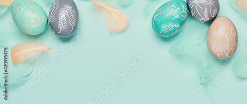 Photo Happy easter minimal banner