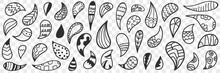 Natural Leaves Or Drops Doodle Set. Collection Of Hand Drawn Leaves Or Natural Drops Of Various Patterns Decoration Wallpaper Isolated On Transparent Background