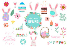 Collection Of Easter Object Set With Rabbit,egg,flower.Editable Vector Illustration For Website, Invitation,postcard And Sticker