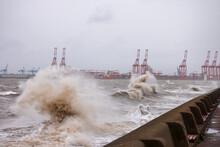 Storm Waves Crashing Off The New Brighton Promenade