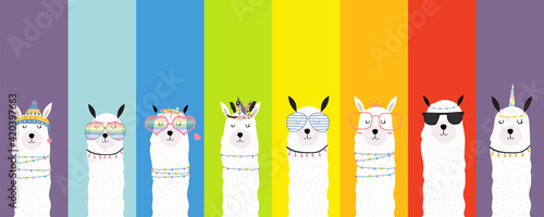 Collection of animal background set with llama,rainbow color.Editable vector illustration for birthday invitation,postcard and sticker