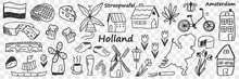 Dutch Traditional Symbols Doodle Set. Collection Of Hand Drawn Various Signs Go Holland Cheese Windmill Coffee Bike Tulip Boat Beer Lamp Buildings Isolated On Transparent Background