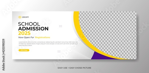 Fototapeta Editable school education admission timeline cover layout and web banner template obraz