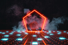 3d Rendering Of Red Neon Pentagonal Shape On Shining Button Floor And Surrounded By Smoke