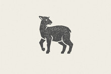 Lamb Silhouette For Domestic Farm Industry Hand Drawn Stamp Effect Vector Illustration.